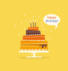 birthday sweet cake with candles retro style vector image