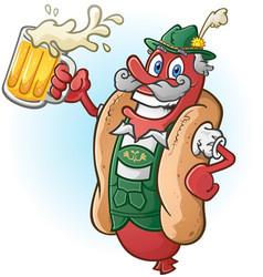 bratwurst hot dog beer cartoon vector image