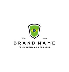 Brazil flag shield logo design vector