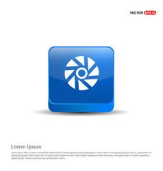 camera shutter icon - 3d blue button vector image