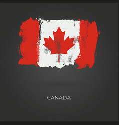 canadian grunge flag isolated on dark background vector image