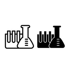 chemistry tubes line and glyph icon flask with vector image