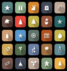 Christmas flat icons with long shadow vector image