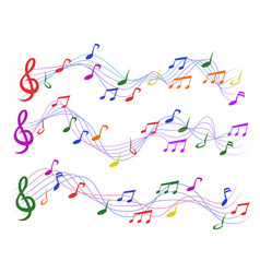 Colorful musical notes vector