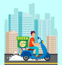 courier delivering dinner to customer vector image