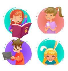 Cute happy children boy and girls characters set vector