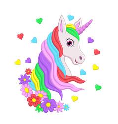cute pink unicorn head with rainbow mane flowers vector image