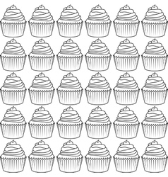 Decorated cupcake icon vector