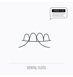 Dental floss icon Teeth cleaning sign vector image