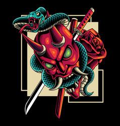 devil head with snake mascot logo vector image