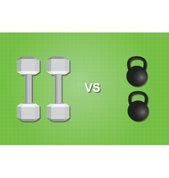 dumbell vs versus kettlebell compare comparing vector image