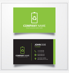 Eco battery icon business card template vector
