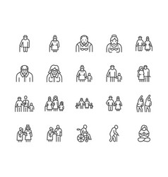 Elder people care flat line icons set senior vector