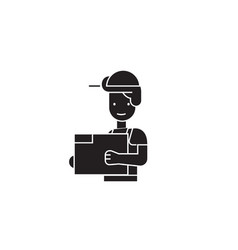 engineer in a helmet black concept icon vector image