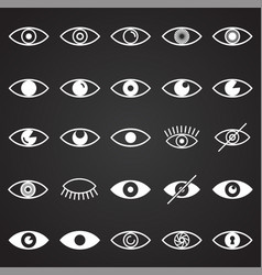 Eye icons set on black background for graphic and vector