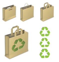 Four brown paper bags with recycle symbol vector