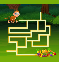 game monkey maze find their way to the fruit vector image