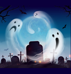 Ghosts halloween realistic vector