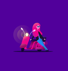 girl and retro scooter vector image