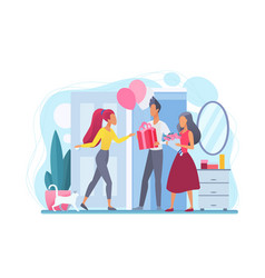 Girl greets guests flat vector