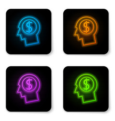 glowing neon business man planning mind icon on vector image
