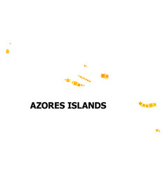 Gold rotated square mosaic map azores islands vector