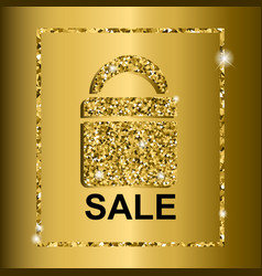 gold sale text on bag design vector image