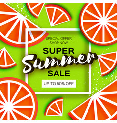 Grapefruit super summer sale banner in paper cut vector