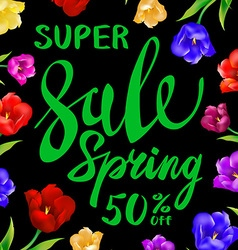 Green sale spring sign with black background color vector