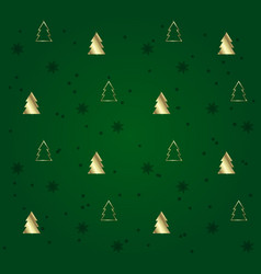 green seamless pattern with golden christmas trees vector image