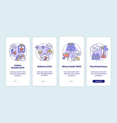 Greenhouse gases types onboarding mobile app page vector