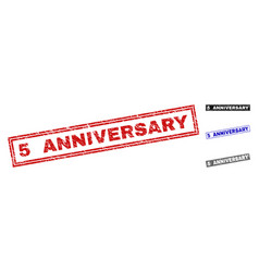 grunge 5 anniversary scratched rectangle vector image