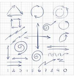 Hand drawn signs arrows and numbers for web vector