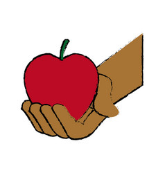 Hand holding fresh apple food vector