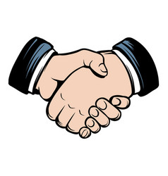 handshake icon cartoon vector image