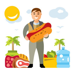 Happy hipster man with hot dog flat style vector
