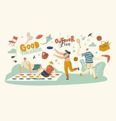 Happy people enjoying summer outdoor activities vector