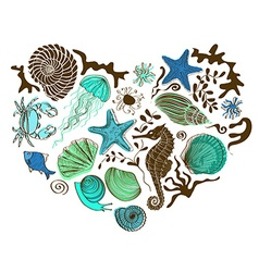 Heart of sea animals and shells vector