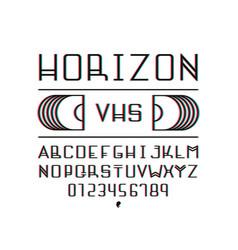 horizon vhs font alphabet vector image