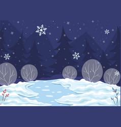 Horizontal winter night vector