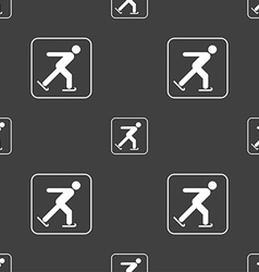 Ice skating sign Seamless pattern on a gray vector image