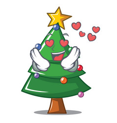 In love christmas tree character cartoon vector