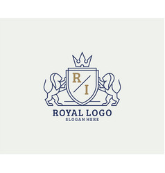 Initial ri letter lion royal luxury logo template vector