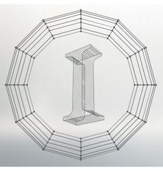 letter I Fonts of Mesh vector image
