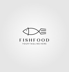 line art fish and fork logo minimalist symbol vector image