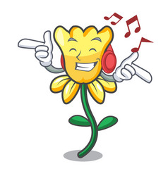 Listening music daffodil flower mascot cartoon vector