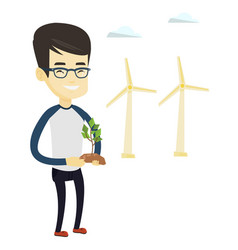 Man holding small plant vector