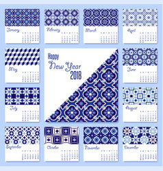 New year 2018 blue mosaic tile calendar template vector
