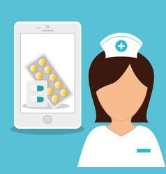 Nurse medical smartphone online healthy vector