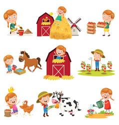 Of little girl at farm vector
